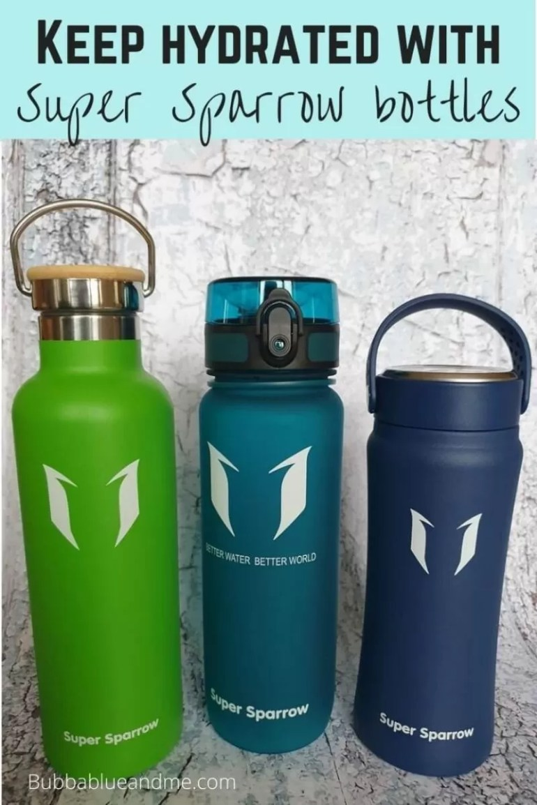 Staying hydrated with super sparrow water bottles x 3