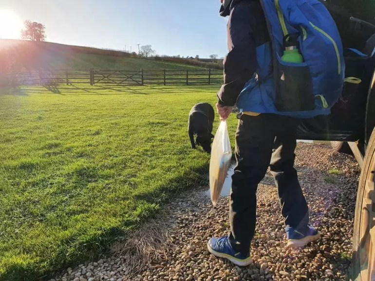 school run with rucksack and water bottle in the pocket
