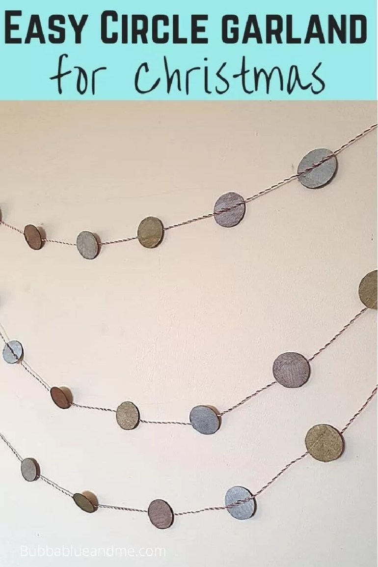 Easy circle garland for Christmas, showing 2 strings of circle garlands.