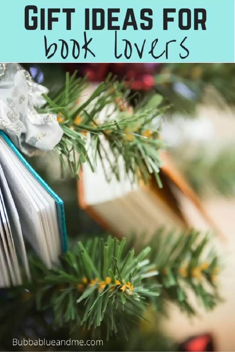 Gift ideas for book lovers - book decorations on a christmas tree close up.