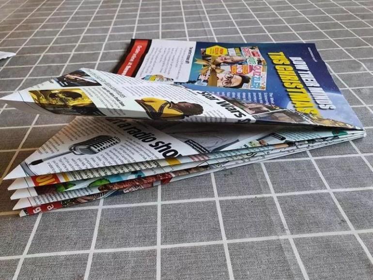 multiple folds for magazine christmas tree