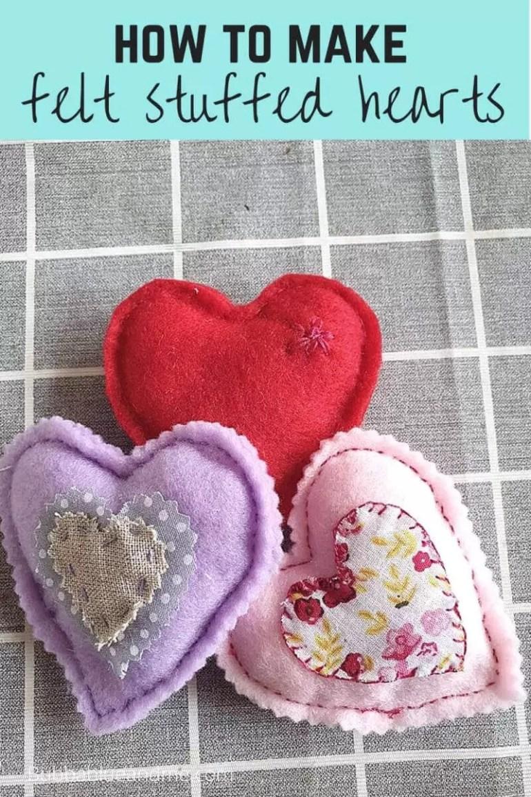 how to make felt stuffed hearts