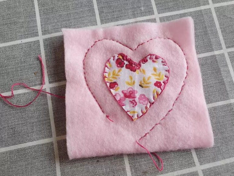 stritched heart shape on felt