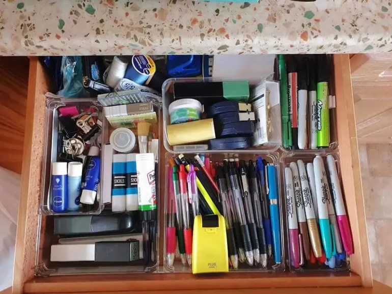organised stationery drawer