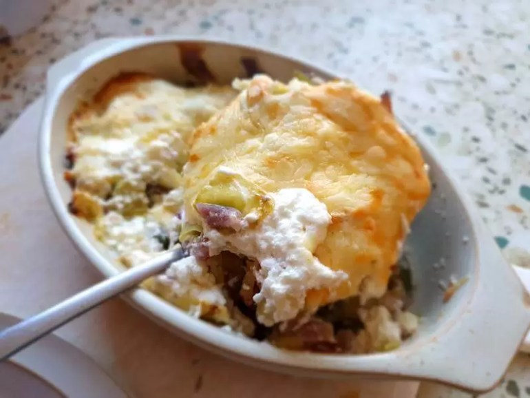 spoonful of cabbage and ham casserole