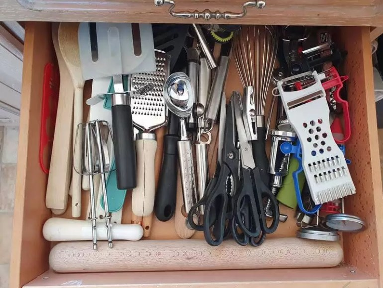 tidied kitchen utensils drawer