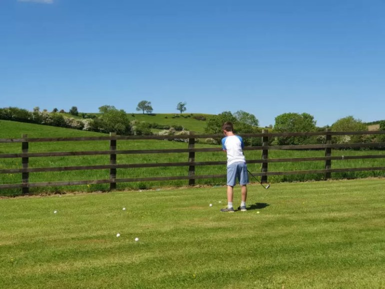 playing golf in the garden