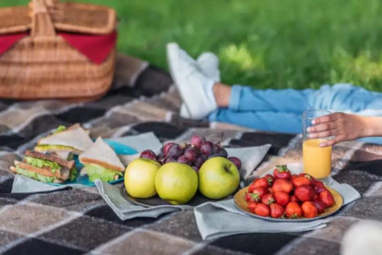 picnic set up on blanket