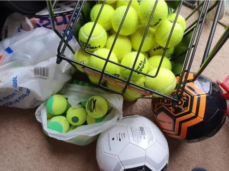 tennnis balls and footballs