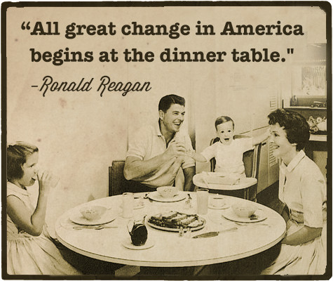 ronald reagan with a family at the dinner table