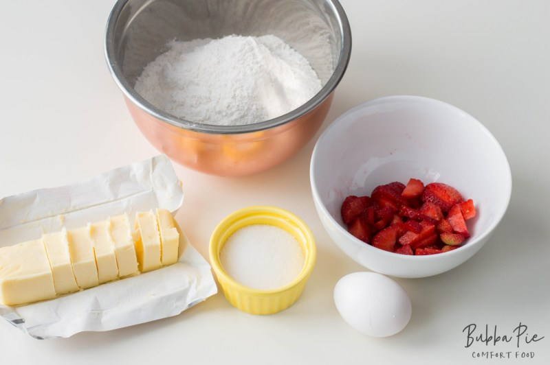 Easy Strawberry Scones ingredients include fresh ingredients, butter, sugar and eggs