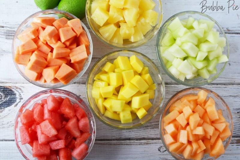 Mexican Fruit Salad Recipe has mangoes, pineapple, papaya and watermelon