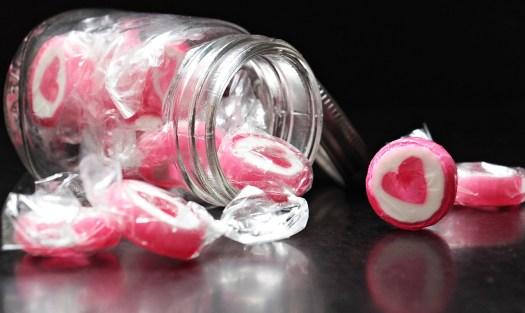 fidélisation clients, bocal bonbons coeur