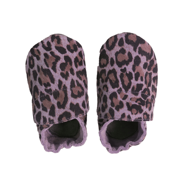 animal print mauve grey baby leather shoes