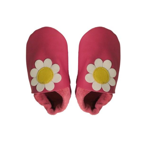 fuchsia daisy baby leather shoes