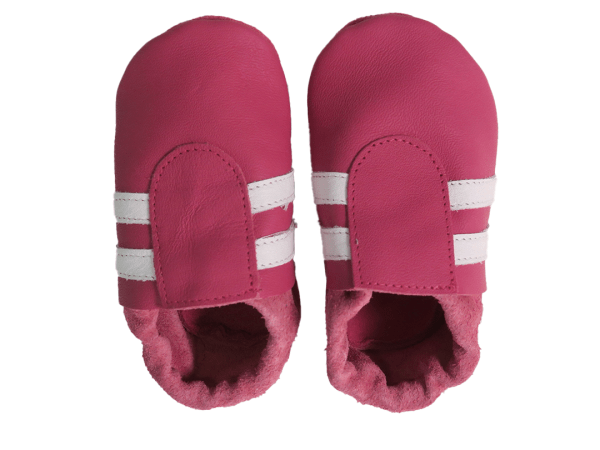 fuchsia white sport baby leather shoes