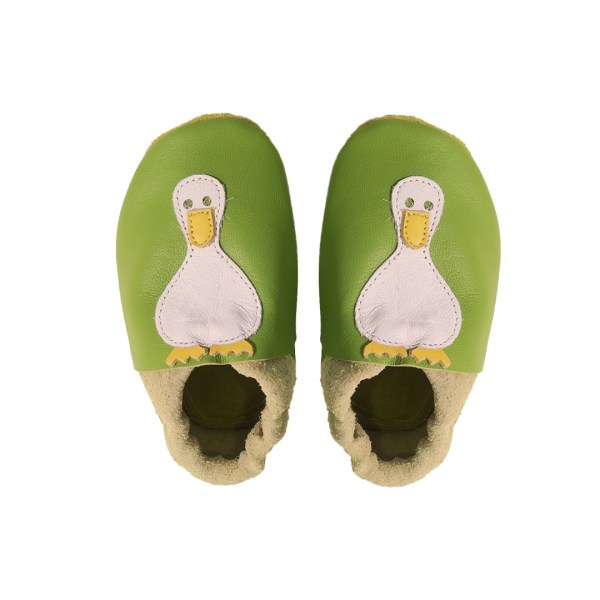 green ducks baby leather shoes