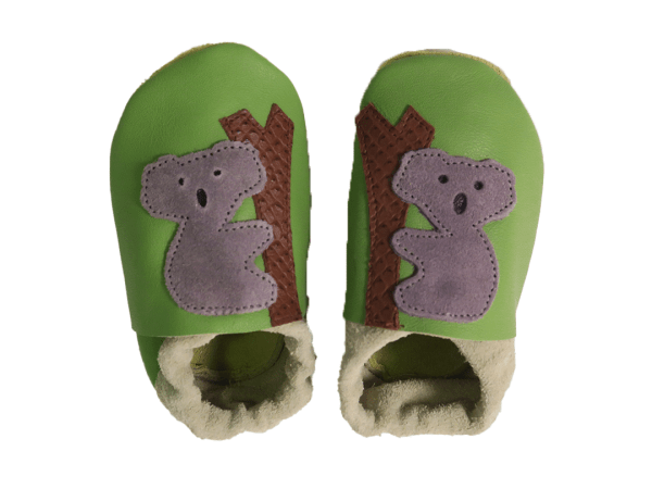 green koalas baby leather shoes