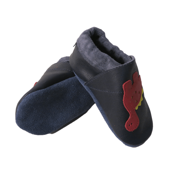 blue dino baby leather shoe soles