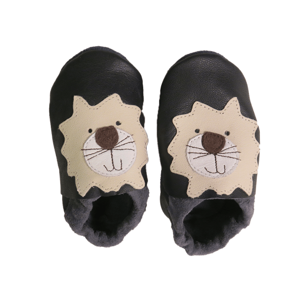 Navy lion baby leather shoes