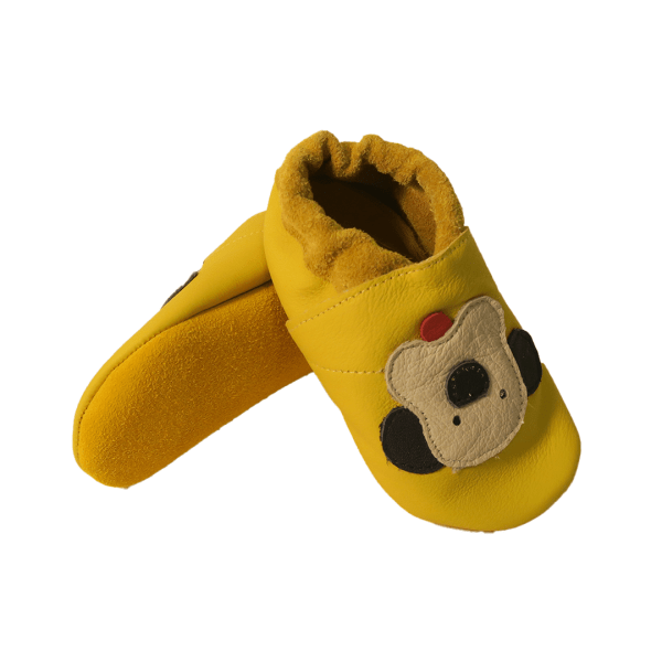 Yellow puppies soft leather baby shoes