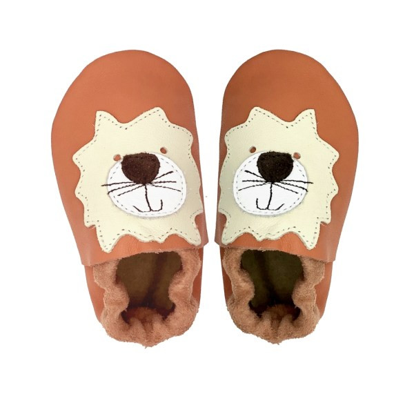 Orange lion baby leather shoes