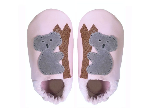 Pink koalas baby leather shoes