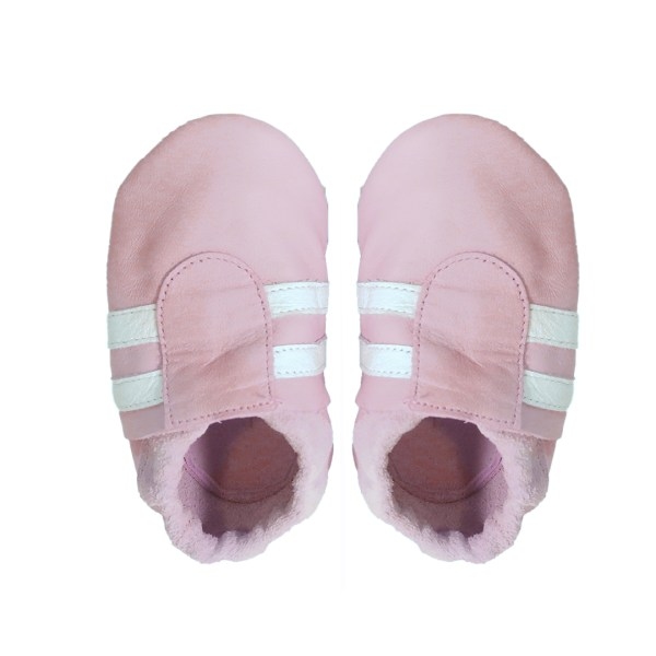 Pink white sports baby leather shoes