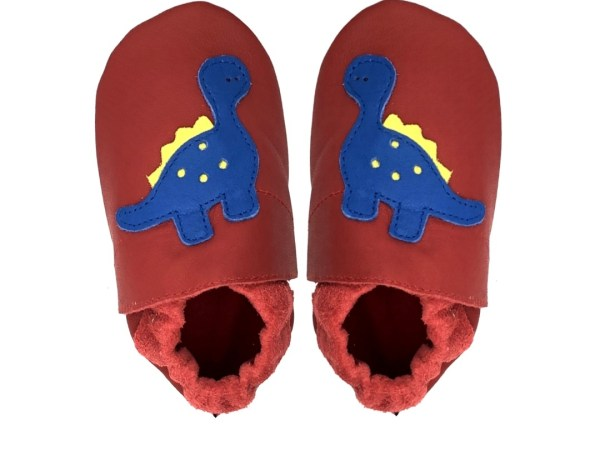 Red dino baby leather shoes