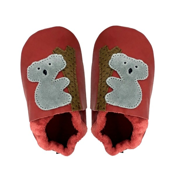 Red Koalas baby leather shoes