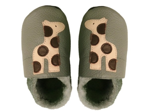 Taupe giraffe baby leather shoes