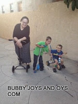 Grandma and kids on wheels
