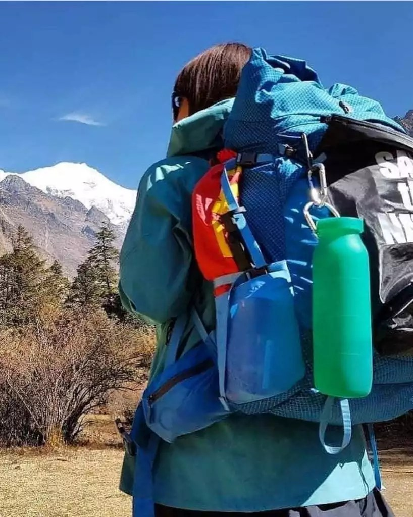 packing, backpack, water bottle, travel mountains