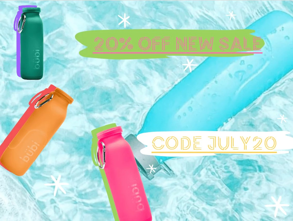 Water bottles sale. 20%off sale, sale now, sale today