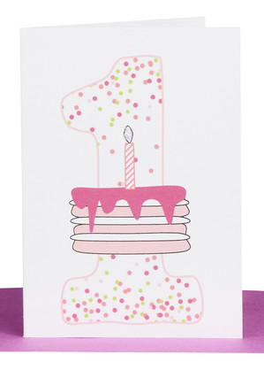 1st birthday card pink cake confetti