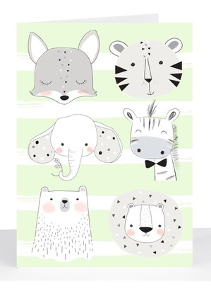 lime stripe animals baby card