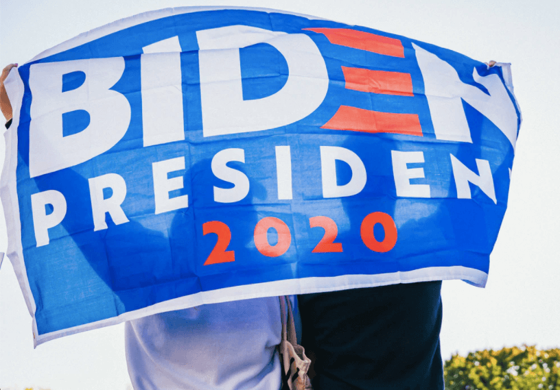 People are holding Biden's 2020 President election promotional banner