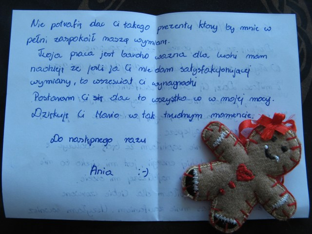 Fragment listu od Ani dla Marii Bucardi