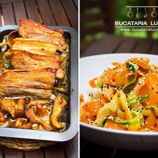 Costita de porc la cuptor in bere cu ceapa verde si ciuperci de padure.