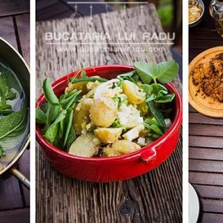 Salata de cartofi noi cu ceapa verde si oua de rata.
