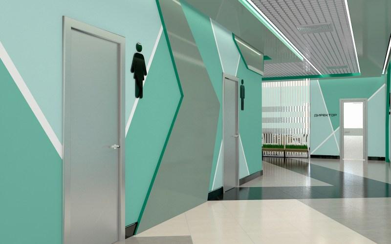 Дизайн коридора в лицее 04