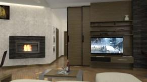 Дизайн проект трехкомнатной квартиры в Киеве. Гостиная, открытая раздвижная дверь.