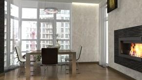 Дизайн гостиной в современном стиле. Зона с обеденным столом и камином.