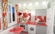 Дизайн маленькой кухни с красными маками.