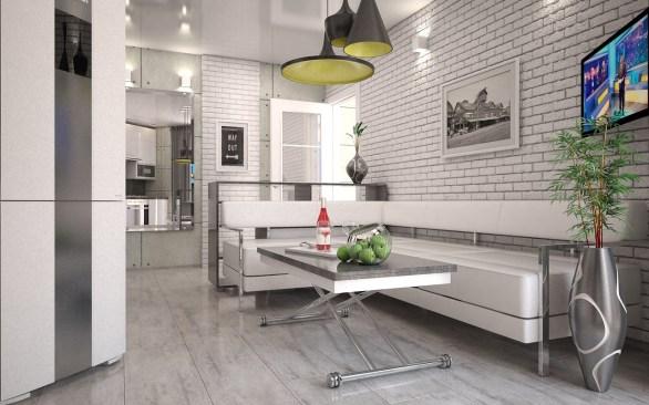 Дизайн интерьера однокомнатной квартиры в стиле лофт, г. Буча