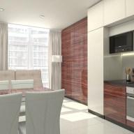 Современная кухня в однокомнатной квартире