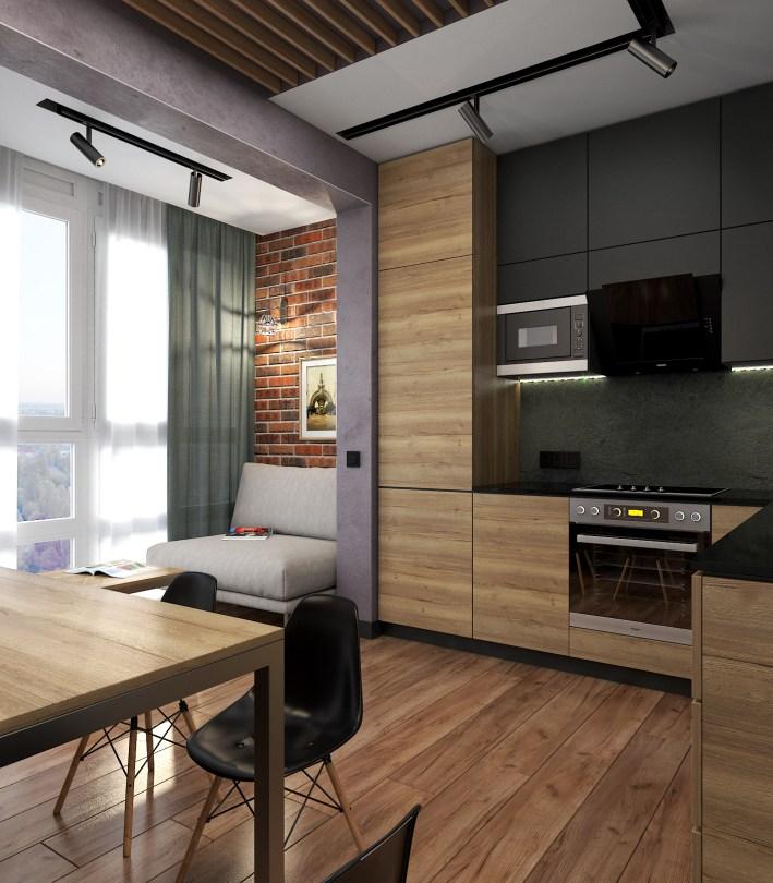 """Дизайн интерьера. Кухня в стиле LOFT с совмещенным балконом Стиль LOFT г.Киев, ЖК """"Пектораль"""""""