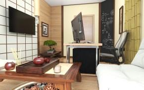 """Дизайн кабинета в японском стиле. Квартира в ЖК """"Заречный"""" в Киеве."""