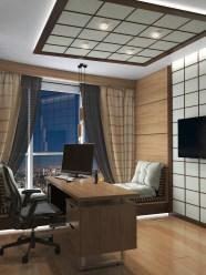 """Дизайн кабинета в японском стиле. Вечернее освещение. Рабочее место. Киев. ЖК """"Заречный"""""""
