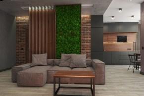 Дизайн гостиной в стиле LOFT, стена - зелёный мох.